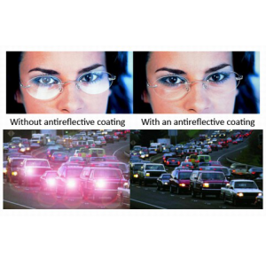 Comparing lenses with and without antireflective coating