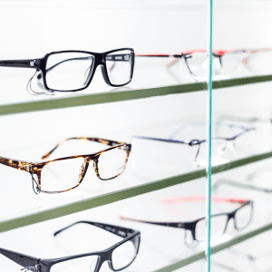 Glasses frames on shelf