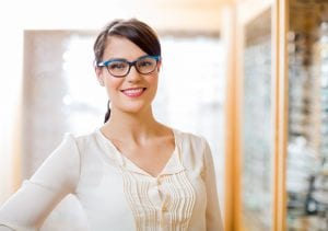 Woman with blue, modern glasses